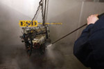 Engine washing closeup